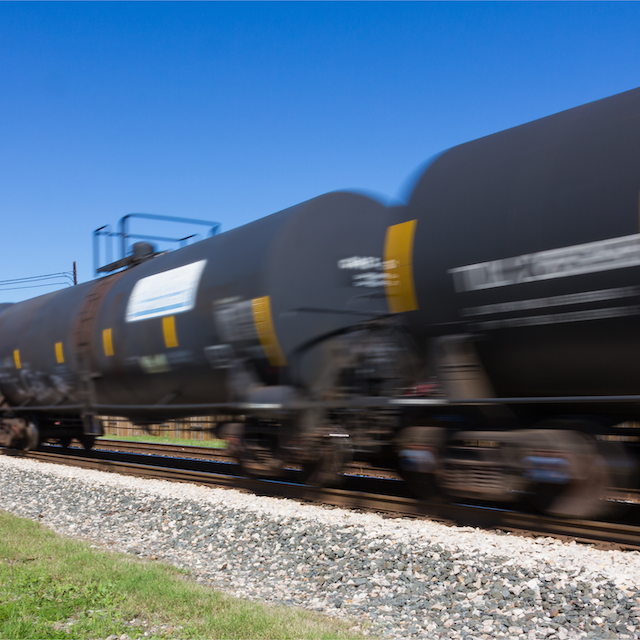 tank cars in motion