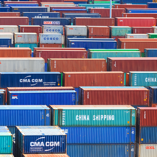 Many containers stored in port